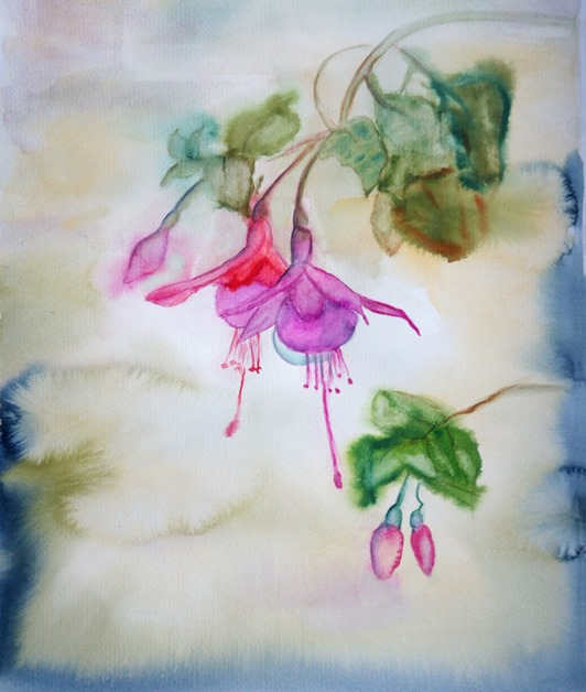 Blumen malen in Aquarell